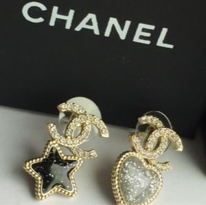 Chanel Star and Heart Earrings Authentic